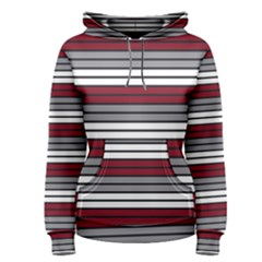 Fabric Line Red Grey White Wave Women s Pullover Hoodie