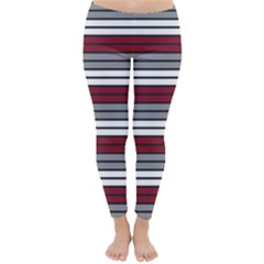 Fabric Line Red Grey White Wave Classic Winter Leggings