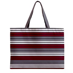 Fabric Line Red Grey White Wave Zipper Mini Tote Bag by Alisyart