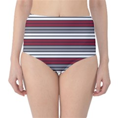 Fabric Line Red Grey White Wave High-waist Bikini Bottoms