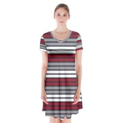 Fabric Line Red Grey White Wave Short Sleeve V-neck Flare Dress by Alisyart