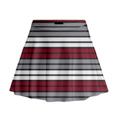 Fabric Line Red Grey White Wave Mini Flare Skirt