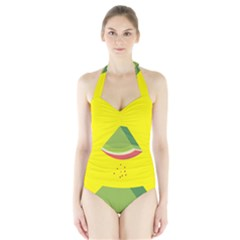 Fruit Melon Sweet Yellow Green White Red Halter Swimsuit by Alisyart