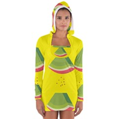 Fruit Melon Sweet Yellow Green White Red Women s Long Sleeve Hooded T Shirt by Alisyart