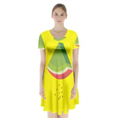 Fruit Melon Sweet Yellow Green White Red Short Sleeve V Neck Flare Dress