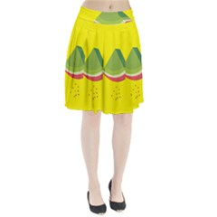 Fruit Melon Sweet Yellow Green White Red Pleated Skirt by Alisyart