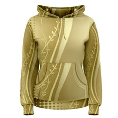 Golden Wave Floral Leaf Circle Women s Pullover Hoodie