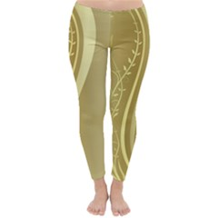 Golden Wave Floral Leaf Circle Classic Winter Leggings