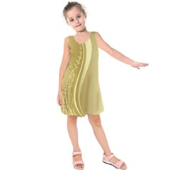 Golden Wave Floral Leaf Circle Kids  Sleeveless Dress by Alisyart