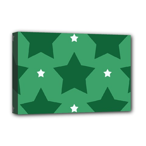 Green White Star Deluxe Canvas 18  X 12   by Alisyart