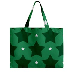 Green White Star Zipper Mini Tote Bag by Alisyart