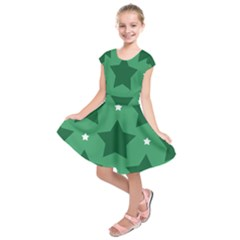 Green White Star Kids  Short Sleeve Dress by Alisyart