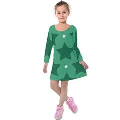 Green White Star Kids  Long Sleeve Velvet Dress by Alisyart