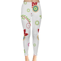 Floral Flower Rose Star Classic Winter Leggings