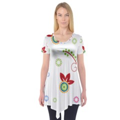 Floral Flower Rose Star Short Sleeve Tunic  by Alisyart