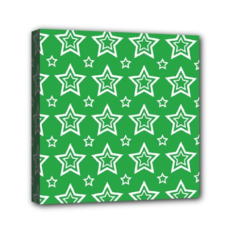 Green White Star Line Space Mini Canvas 6  X 6  by Alisyart