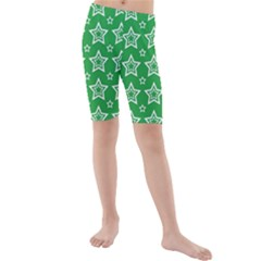 Green White Star Line Space Kids  Mid Length Swim Shorts by Alisyart