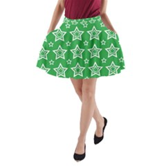 Green White Star Line Space A Line Pocket Skirt by Alisyart