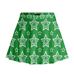 Green White Star Line Space Mini Flare Skirt