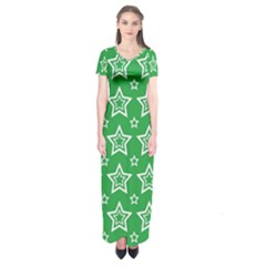 Green White Star Line Space Short Sleeve Maxi Dress