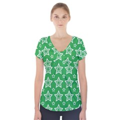 Green White Star Line Space Short Sleeve Front Detail Top by Alisyart