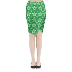 Green White Star Line Space Midi Wrap Pencil Skirt by Alisyart