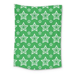 Green White Star Line Space Medium Tapestry