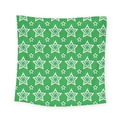 Green White Star Line Space Square Tapestry (small) by Alisyart