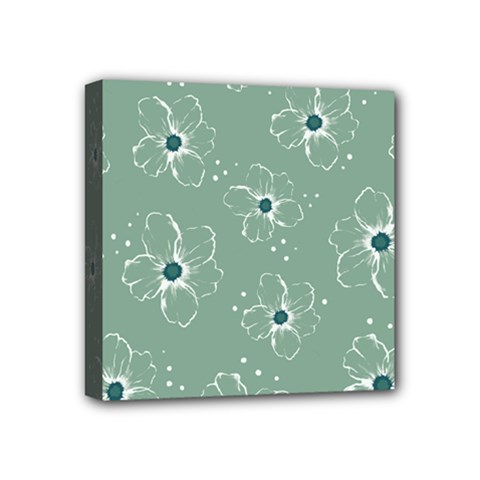 Floral Flower Rose Sunflower Grey Mini Canvas 4  X 4  by Alisyart