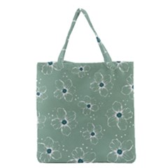 Floral Flower Rose Sunflower Grey Grocery Tote Bag by Alisyart