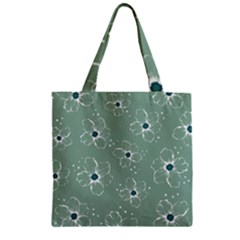 Floral Flower Rose Sunflower Grey Zipper Grocery Tote Bag by Alisyart