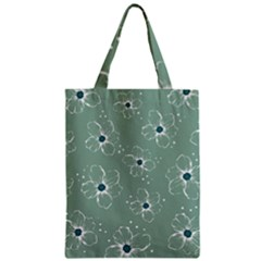 Floral Flower Rose Sunflower Grey Zipper Classic Tote Bag by Alisyart