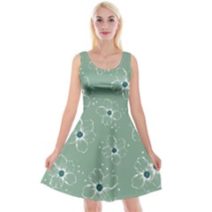 Floral Flower Rose Sunflower Grey Reversible Velvet Sleeveless Dress