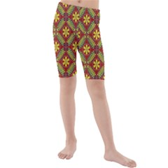 Abstract Yellow Red Frame Flower Floral Kids  Mid Length Swim Shorts by Alisyart