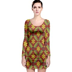 Abstract Yellow Red Frame Flower Floral Long Sleeve Bodycon Dress