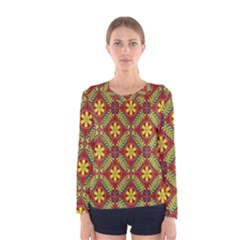 Abstract Yellow Red Frame Flower Floral Women s Long Sleeve Tee by Alisyart