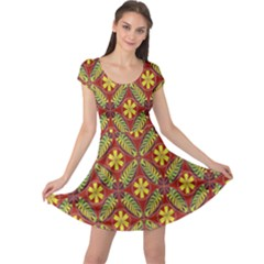 Abstract Yellow Red Frame Flower Floral Cap Sleeve Dresses