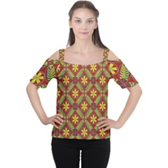 Abstract Yellow Red Frame Flower Floral Women s Cutout Shoulder Tee by Alisyart
