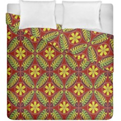 Abstract Yellow Red Frame Flower Floral Duvet Cover Double Side (king Size) by Alisyart