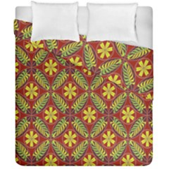 Abstract Yellow Red Frame Flower Floral Duvet Cover Double Side (california King Size)