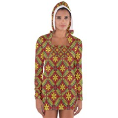 Abstract Yellow Red Frame Flower Floral Women s Long Sleeve Hooded T Shirt by Alisyart