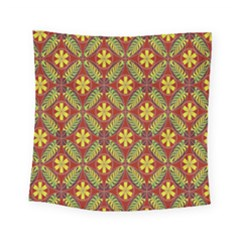 Abstract Yellow Red Frame Flower Floral Square Tapestry (small) by Alisyart