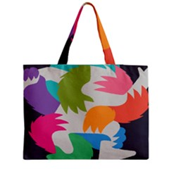 Hand Rainbow Blue Green Pink Purple Orange Monster Medium Tote Bag by Alisyart