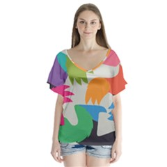 Hand Rainbow Blue Green Pink Purple Orange Monster Flutter Sleeve Top