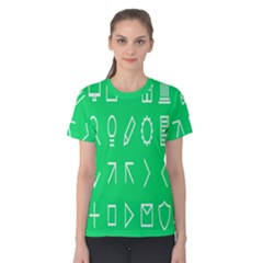 Icon Sign Green White Women s Cotton Tee