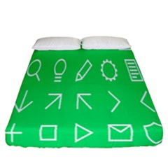 Icon Sign Green White Fitted Sheet (california King Size) by Alisyart