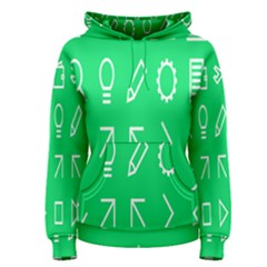 Icon Sign Green White Women s Pullover Hoodie