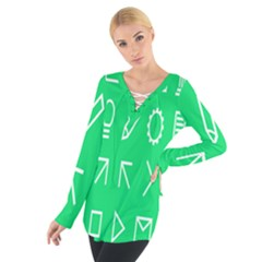 Icon Sign Green White Women s Tie Up Tee by Alisyart
