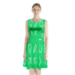 Icon Sign Green White Sleeveless Chiffon Waist Tie Dress by Alisyart