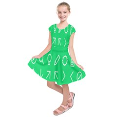 Icon Sign Green White Kids  Short Sleeve Dress by Alisyart